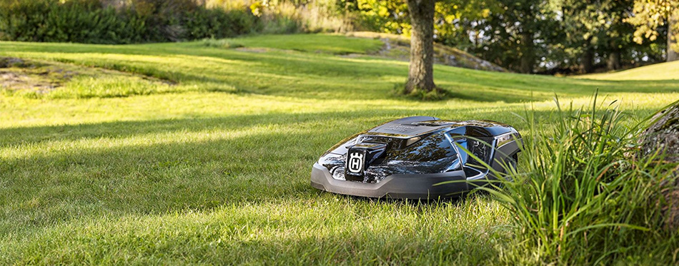 black robot lawn mower