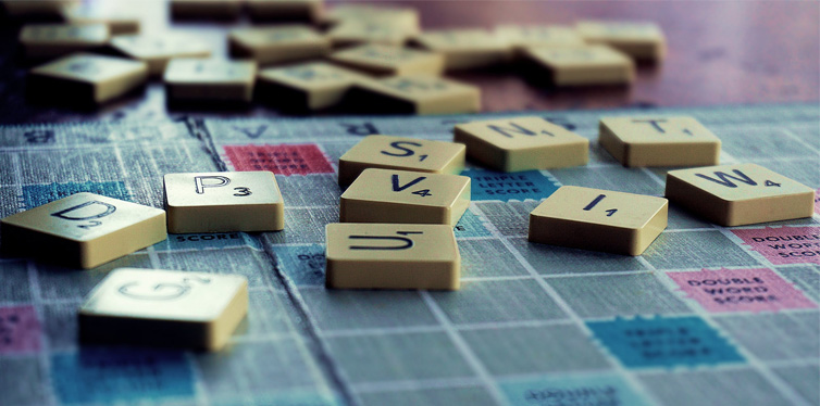 board game with letters