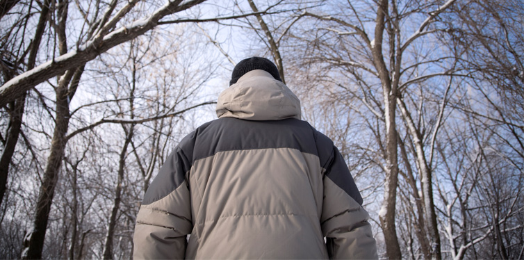 man in winter jacket