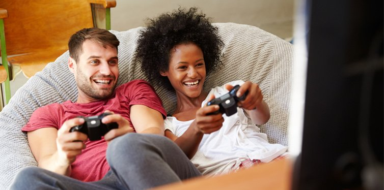 a couple playing video game