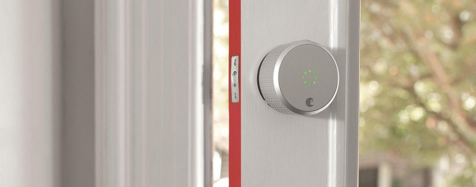 gray smart door lock