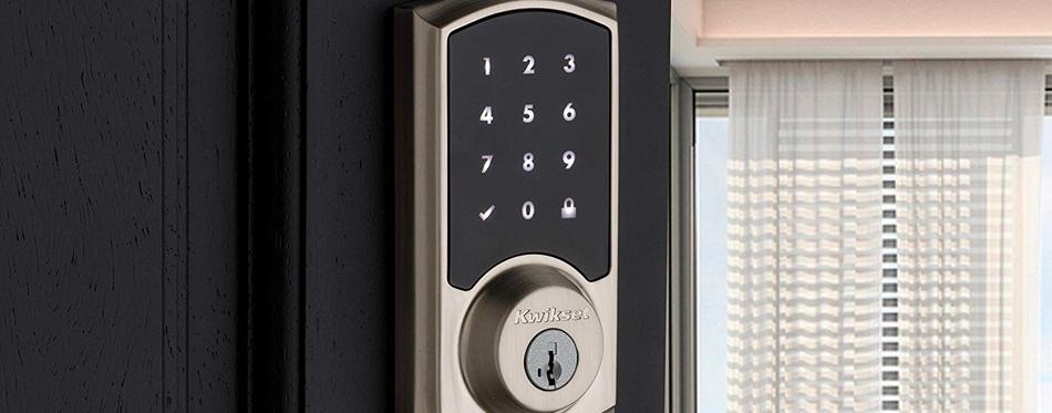 smart lock on black door