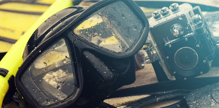 diving equipment and a waterproof camera