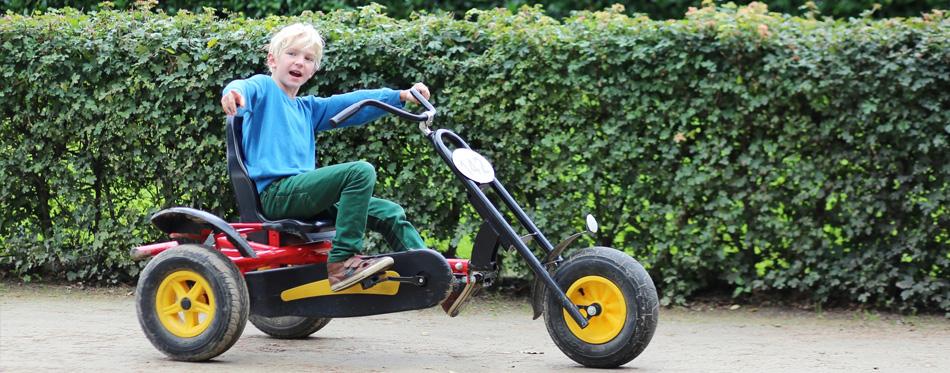 kid using go-kart