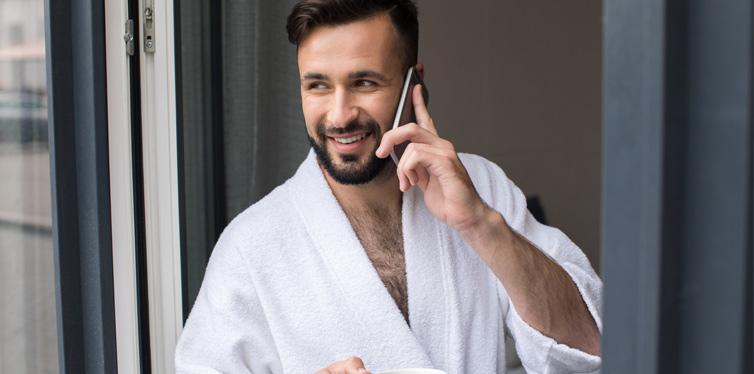 man wearing a bathrobe