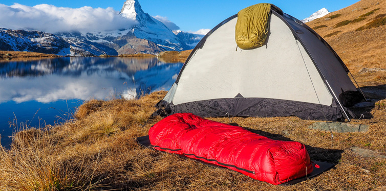 sleeping bag and a tent