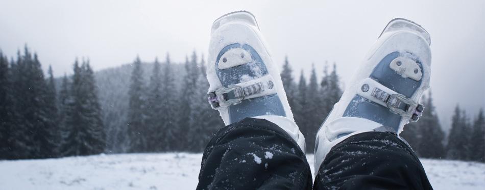 ski boots in snow