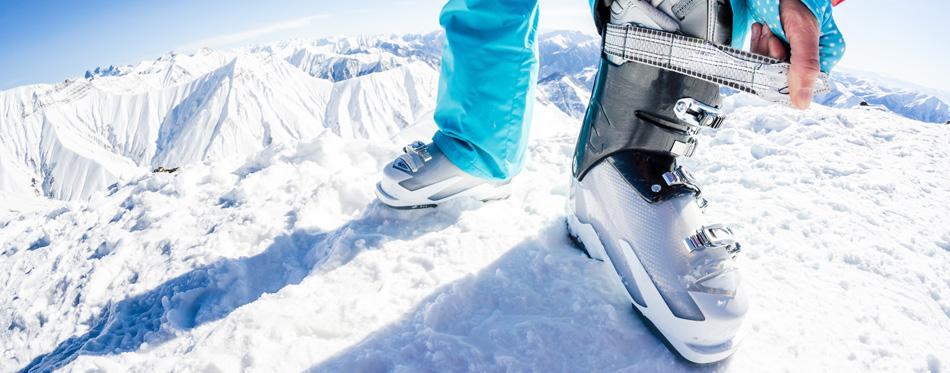 skier wearing ski boots