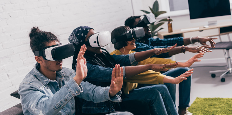 friends wearing vr headset