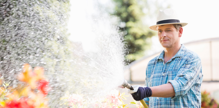 man watering plants