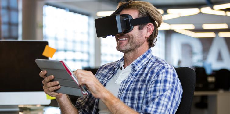 man with VR simulator
