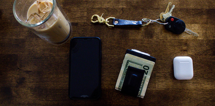 phone, keys, wallet, coffee