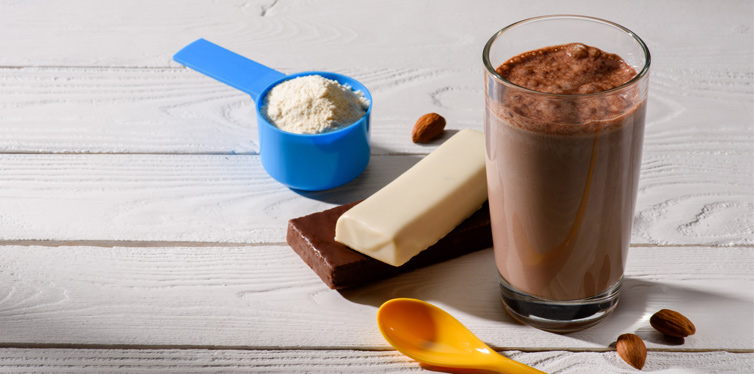 protein shake and energy bar