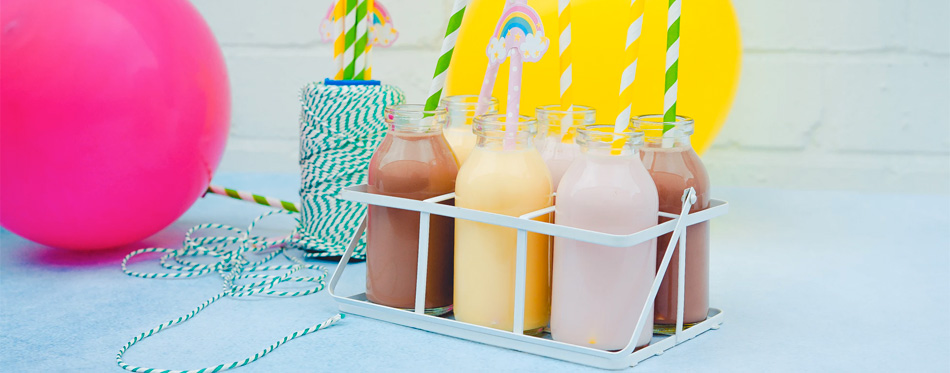 bottles with milk shake
