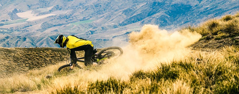 man riding mountain bike