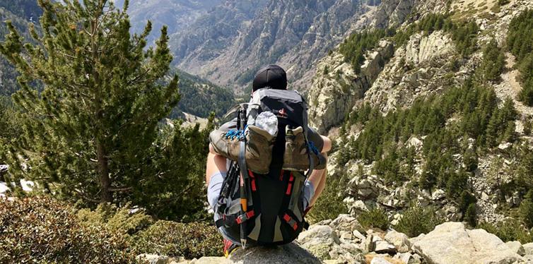 hiker sitting