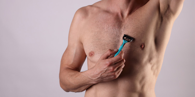 man shaving chests