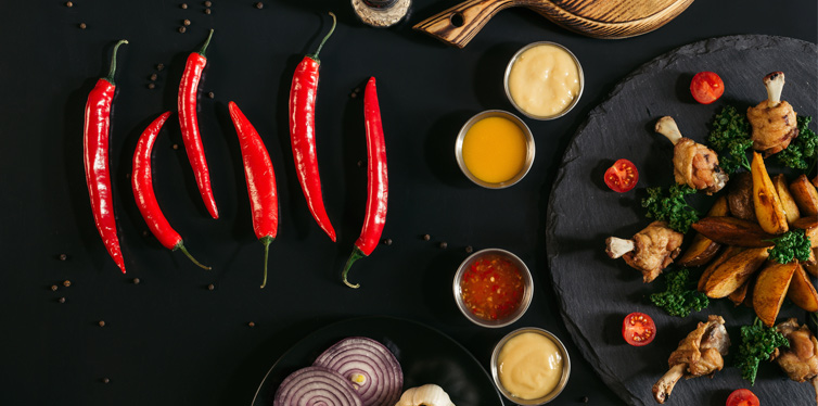 chilly peppers, sauces and chicken