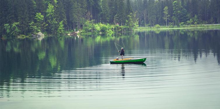 fishing in a boat