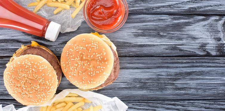hamburger and ketchup