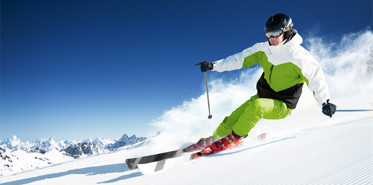 man skiing on the ski slope