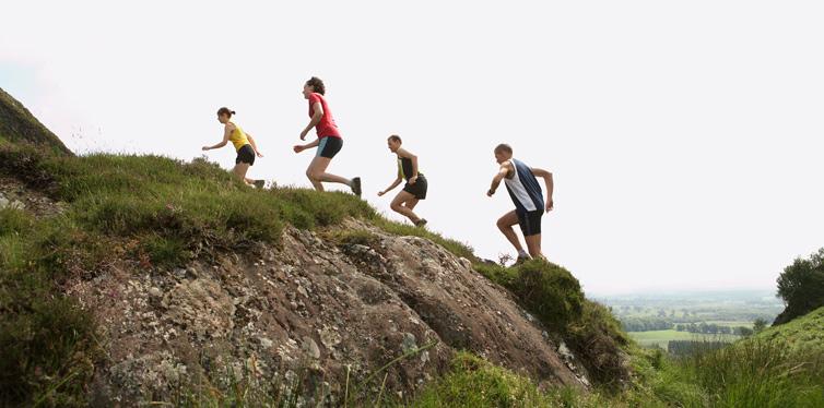 people running uphill