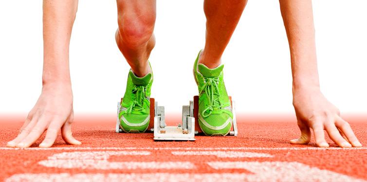 a runner starting a race