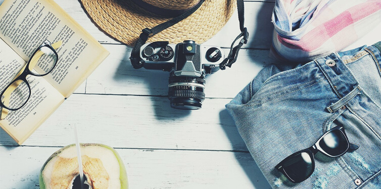 camera, book, glasses