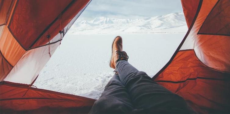 camper in the tent