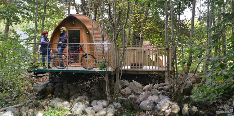 cyclists glamping