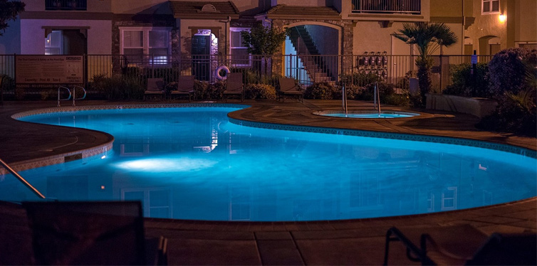 home pool at night