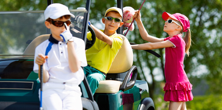 kids at the golf course