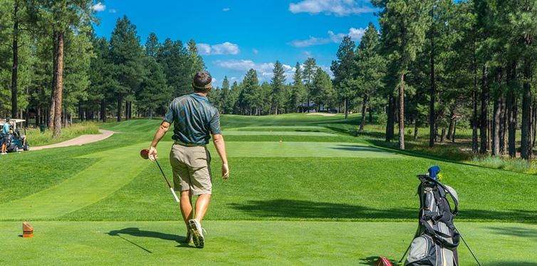 man on a golf court