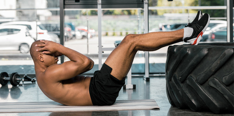 man doing ab exercises