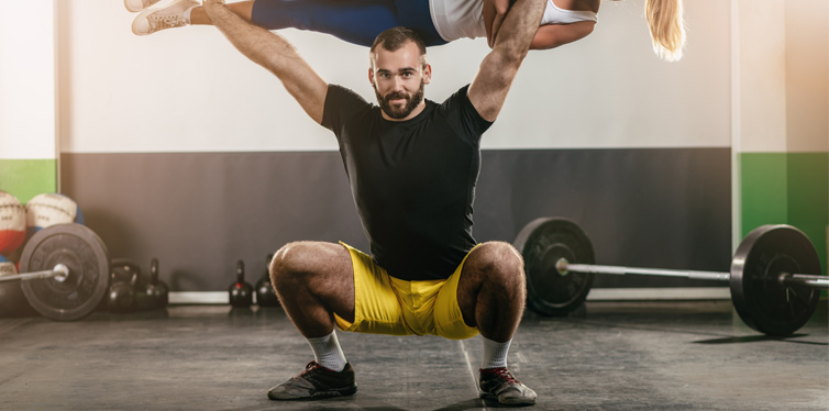 strong man doing squats