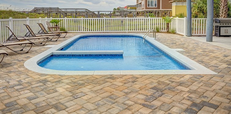 swimming pool in a yard