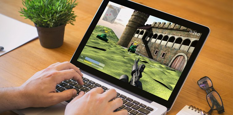 video game on a laptop