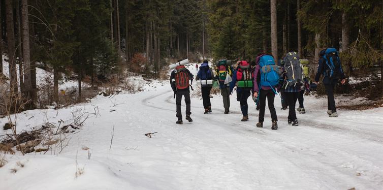 group of hikers in winter