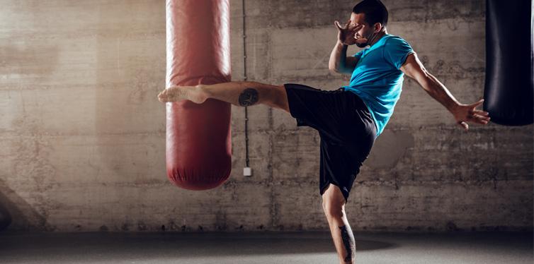 man punching bag