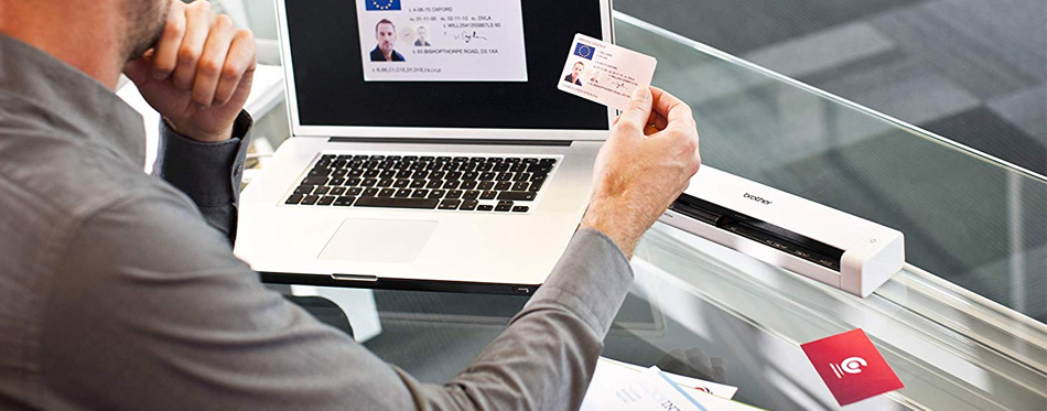 a man using a scanner for his id