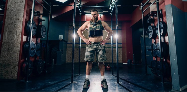 man wearing a weighted vest