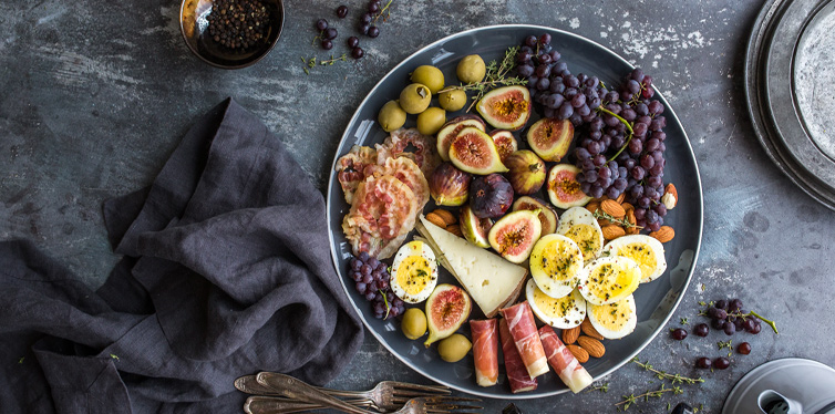 meal with eggs and grapes