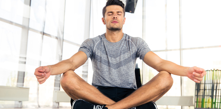 young man in meditation pose