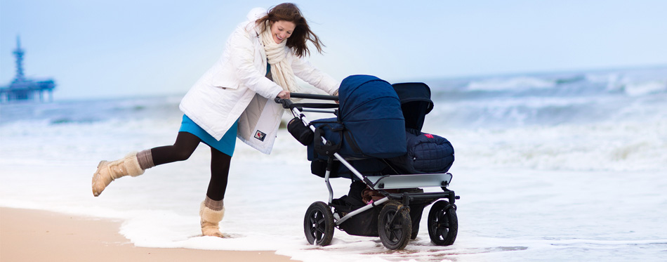 active mother with a stroller