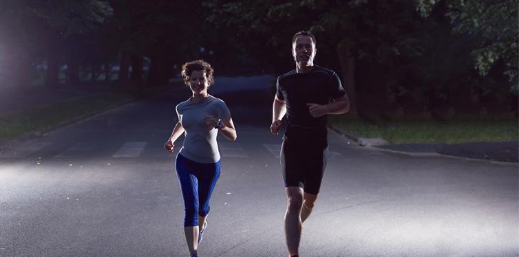 couple running at night