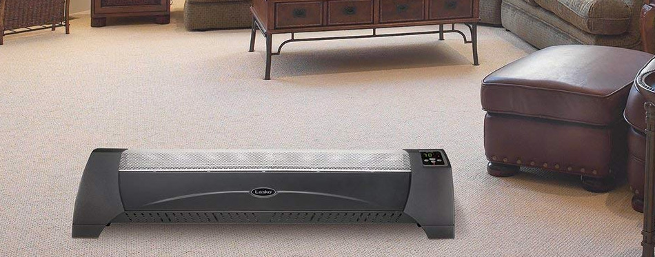 electric baseboard heater in a room