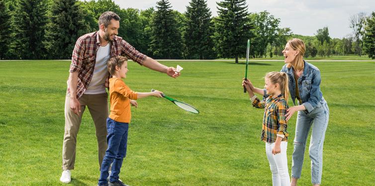 family playing bagminton
