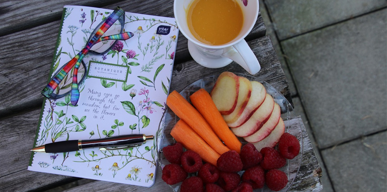 food and notebook
