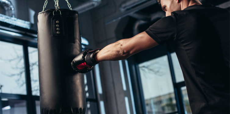 man training boxing