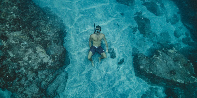man under water